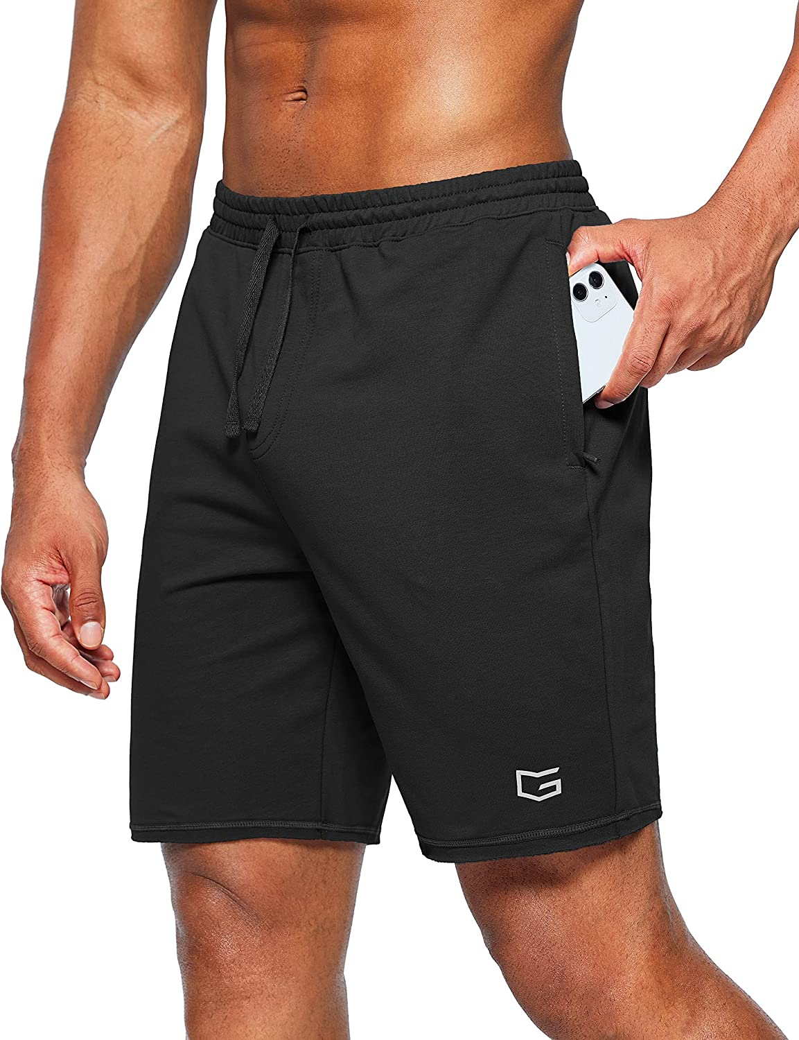 G Gradual Men's Cotton Sweat Shorts 8 Inch Casual Lounge Shorts Workout Athletic Gym Shorts for Men with Zipper Pockets at  Men's Clothing store