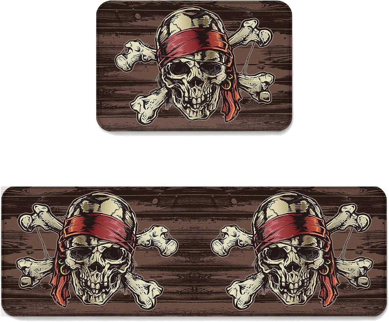 Fantasy Star Kitchen Rug Sets 2 Piece Floor Mats Non-Slip Rubber Backing Area Rugs Pirate Skull Doormat Washable Carpet Inside Door Mat Pad Sets (19.7  x 31.5 +19.7  x 63 )