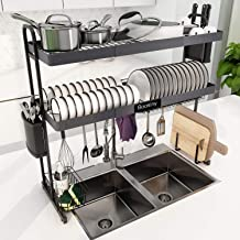 Over Sink Dish Drying Rack, Boosiny 2 Tier Stainless Steel Expandable Kitchen Dish Rack (27.5'' - 33.5''), Adjustable Larg...