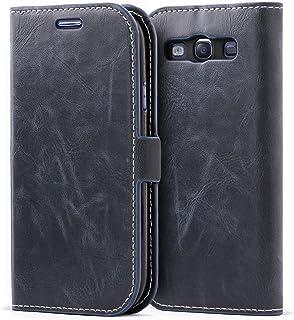 Mulbess Funda Samsung Galaxy S3 [Libro Caso Cubierta] [Bookstyle de Billetera Cuero de la PU] con Tapa Magnética Carcasa para Samsung Galaxy S3 / S3 Neo Case, Azul Marino