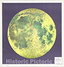 Historic Pictoric Map : Moon 1963, Pictorial Lunar map, Antique Vintage Reproduction : 44in x 44in