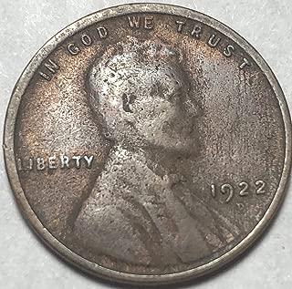 1922 D Lincoln (Semi Key Date) Weak D Wheat Penny Cent Good