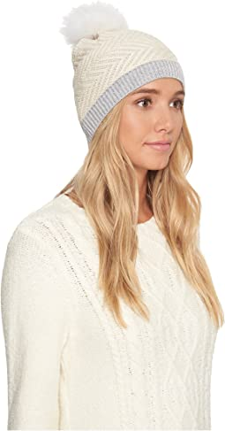 UGG - Chevron Beanie with Fur Pom