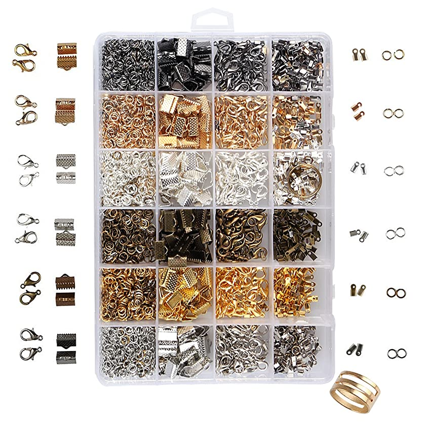 UNIME Jewelry Findings Set Jewelry Making Kit Jewelry Findings Starter Kit Jewelry Beading Making Kit with Lobster Clasps, Jump Rings, Ribbon Ends, Ribbon Clamp Crimps, Six