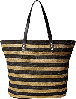 San Diego Hat Company - BSB1558 Braid Gold Stripe Tote Bag with Interior Sippered Pocket