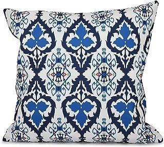 E by design 20 x 20-inch, Bombay, Geometric Print Pillow, Navy Blue