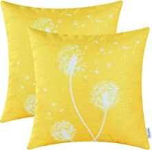 CaliTime Pack of 2 Canvas Throw Pillow Covers Cases for Couch Sofa Home Decor Solid Dandelion Print 18 X 18 Inches Vibrant Yellow