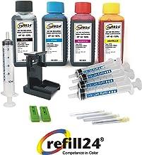 Kit de Recarga para Cartuchos de Tinta HP 62, 62 XL Negro y Color, Incluye Clip y Accesorios + 400 ML Tinta