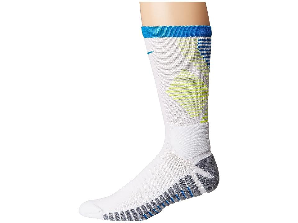 Nike Strike Mercurial Soccer (White/Volt/Photo Blue) Crew Cut Socks Shoes