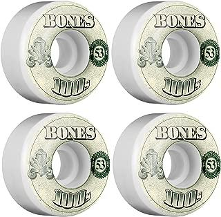 Bones Wheels 100's #10 Natural / Blue Skateboard Wheels - 53mm 100a (Set of 4)