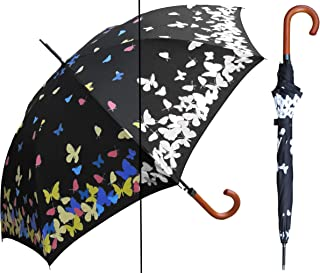 """RainStoppers 46"""" Auto Color-Changing Butterfly Print Umbrella, Multi-Color, One Size (S013)"""