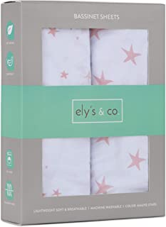 Ely's & Co. Bassinet Sheet 100% Jersey Cotton 2 Pack for Baby Girl-Dusty Rose and Mauve Pink Stars