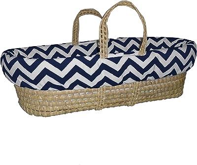 Baby Doll Bedding Minky Chevron Moses Basket, Navy/White