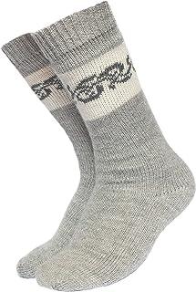 Intialpaca - Calcetines de invierno de alpaca gris con patrones de carbón para hombres y mujeres, extra cálidos y suaves, hechos a mano en Perú