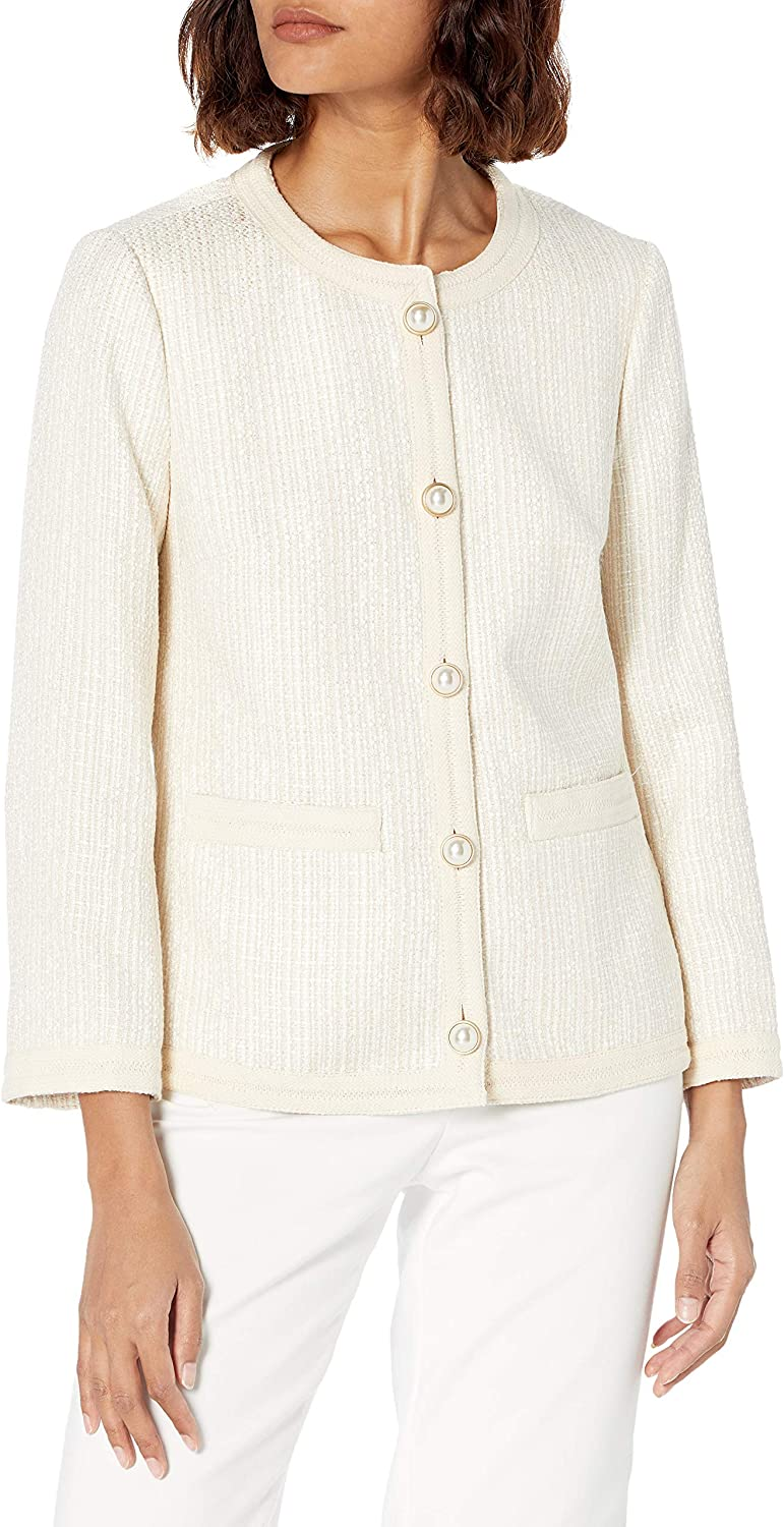 Anne Klein Women's Collarless Button Novel specialty shop Front Tri Ranking TOP15 with Jacket