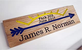 Arrow of Light Award Oak Wood Routed Sign Plaque Handmade Oak Cubscout Webelos Boyscout Blue Gold Pack Custom Hand Carved AOL