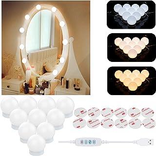 Aourow Luces de Espejo MaquillajeDiseño de Cable USB Luz de Tocador LED con Interruptor y 10 Bombillas Regulables3 Modos...