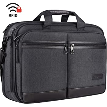 "KROSER 18"" Laptop Bag Stylish Laptop Briefcase Fits Up to 17.3 Inch Expandable Water-Repellent Shoulder Messenger Bag Computer Bag with RFID Pockets for Business/Travel/School/College/Men/Women-Black"