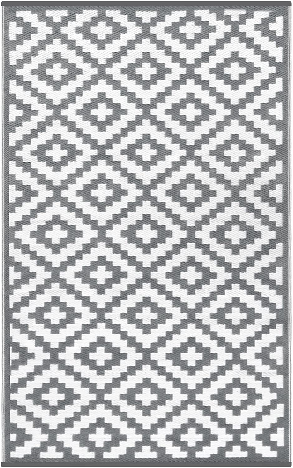 GD Home Lightweight Indoor Outdoor Reversible Plastic Rug - 120 x 180 cm Grey White
