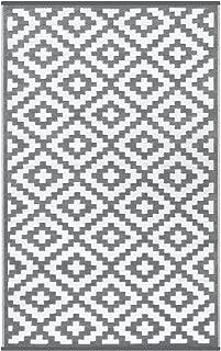 Lightweight Outdoor Reversible Plastic Nirvana Rug (5 X 8, Grey/White)