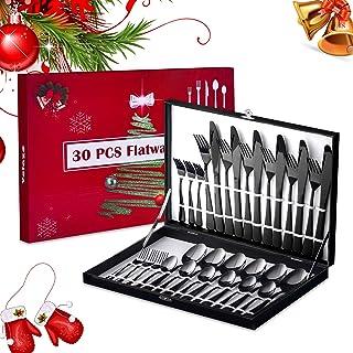 Velaze Couverts de Table, Set de Couteaux et Fourchettes Cuisine en Acier Inoxydable 18/10, avec Une Couleur Noir Ménagère...