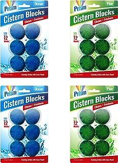 24 x Ambientador de inodoro Prism | Pastillas de 50g para el inodoro con duración de 14 días | Bloques para la cisterna con fragancia a océano y pino de