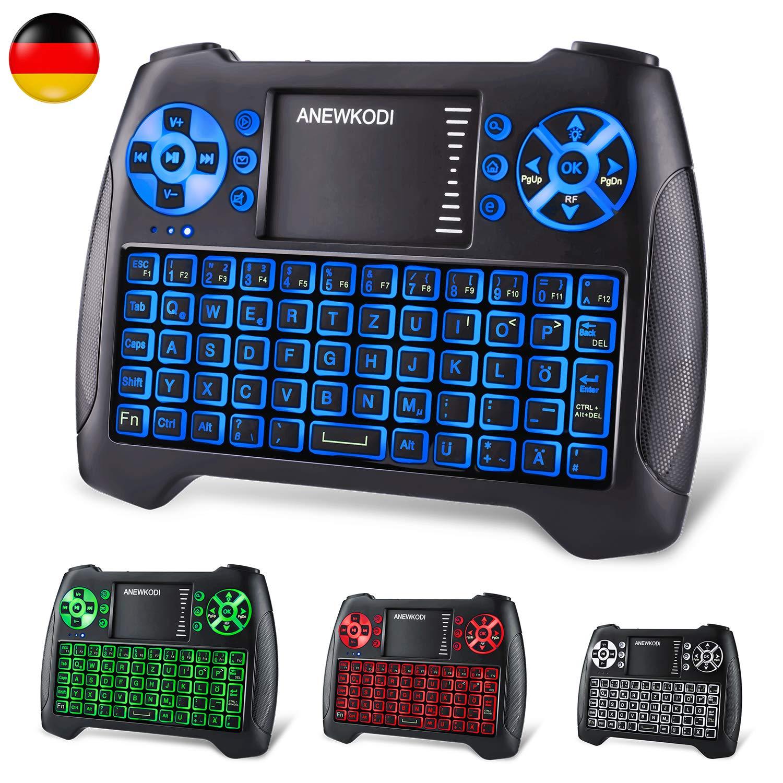 ANEWKODI Mini teclado con pantalla táctil iluminado inalámbrico 2,4 GHz Teclado sin cables, Batería recargable, Para Smart TV, HTPC, IPTV, Android TV Box, Xbox360, PS3, PC, etc (Teclado alemán) negro German version: