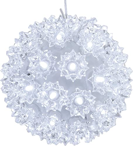 lowest Sunnydaze 5-Inch Colored Lighted Ball Hanging Ornament - 50 LED Bulbs - UL-Listed Indoor/Outdoor Electric Plug-in Decor - sale Christmas and Holiday Decorations - outlet online sale White outlet online sale