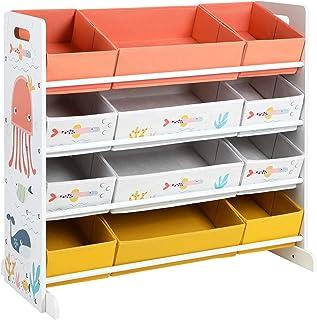 SONGMICS leksakshylla, barnrumshylla med 12 tyglådor, för böcker och leksaker, leksaksarrangör, barnrum, för barn, multifu...