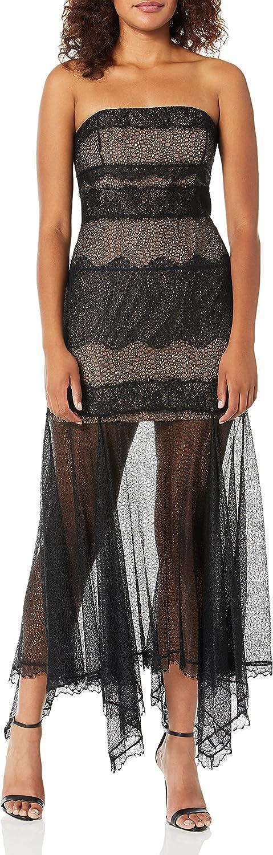 Dress the Population Women's Farah Sequin Halter Fit & Flare Long Gown Dress, Black/Black, L