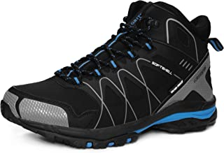 GRITION Mens Hiking Boots Waterproof Work Boots Slip Resistance Outdoor Lightweight Lace Up Trainers Ankle Boots Winter Warm Breathable Shoes