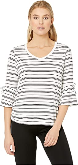 Yarn-Dye Stripe V-Neck Top with Bell Sleeves