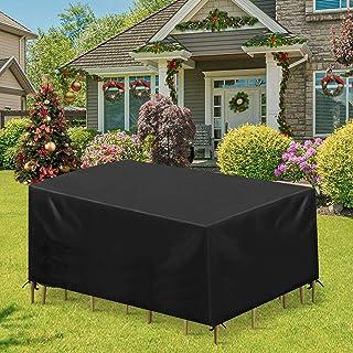 Essort Funda Mesa Jardin 213x123x74cm, Fundas para Muebles de Jardin Impermeables, Juego de Fundas para Sofa de Jardin, al Aire Libre, Patio, Plazas Funda para Sofa de Esquina, Mesa y Sillas, Negro