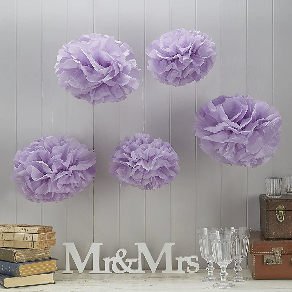 Ginger Ray Vintage Lace Tissue Paper Pom Poms for Wedding & Party Decorations (5 Pack), Lilac