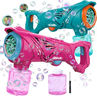 mixi Outdoor Toys, Bubble Machine Bubble Guns for Kids, Bubble Blower Bubble Maker with Bubble Solution, Summer Toys for 3 4 6 7 Year Old Boys and Girls Pink