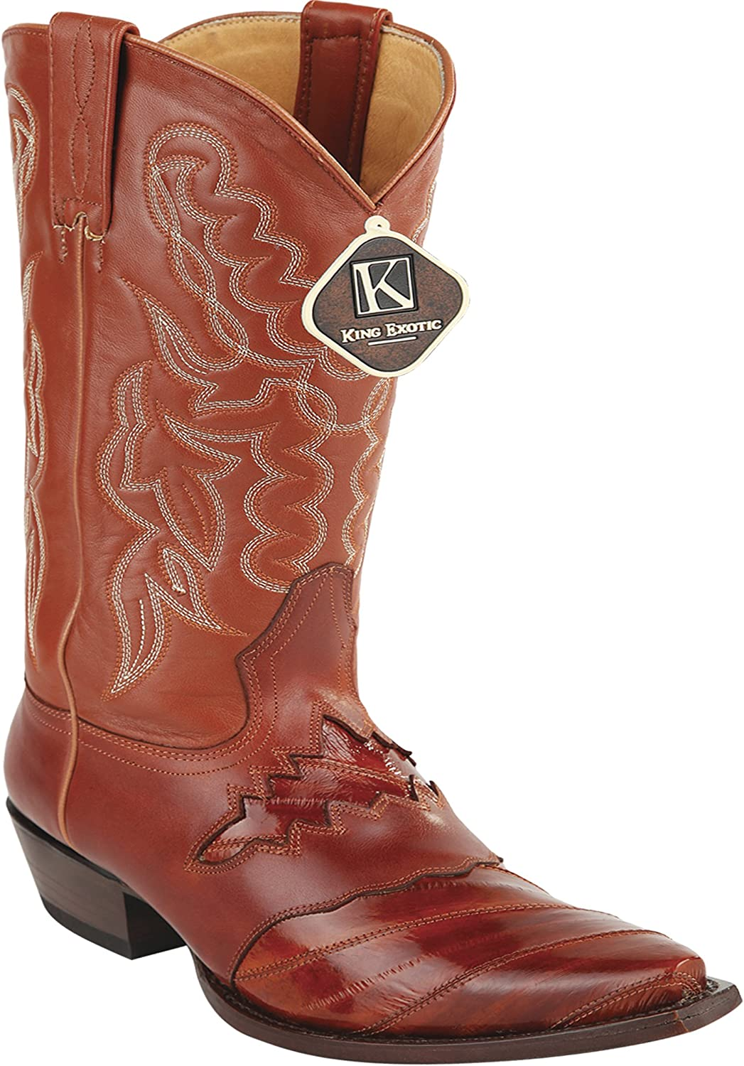 Women's Snip Toe Cognac Genuine Leather Sadded EEL Skin Western Boots
