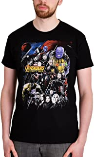 Avengers Camiseta para Hombre Infinity War Collage Marvel Elven Forest Cotton Black