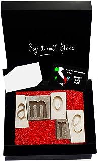 AMORE Lettere Decorative Fatte a Mano in Pietra Leccese - Incl Confezione Regalo e Bigliettino in Bianco Soprammobile Roma...