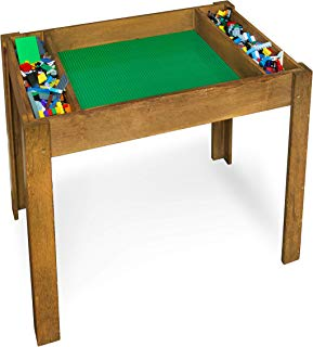 Brick Nation Lego Compatible Table with Storage for Older Kids Extra Large Play Table with Green Baseplate Sheets - Activity Furniture Compatible with Classic & Duplo Bricks