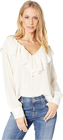 Long Sleeve V-Neck Ruffle Edge Blouse