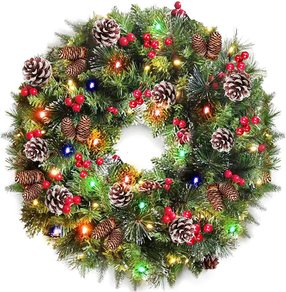 TURNMEON supreme 24 Inch Christmas Wreath Lights Colorful Batter with Super-cheap 80