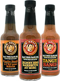 Mr. Spice 3-Pack Organic - Salt Free Sauce - Fat Free Marinade - Gluten Free - Vegan - Low Calorie - Honey BBQ - Tangy Bang - Garlic Steak