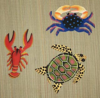 CORAL REEF CREATIONS Set of 3 Metal Art Wall Hanging Lobster, Crab and Turtle