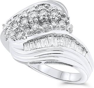 1 Carat Diamond Bypass Ring For Women In 14k White Gold