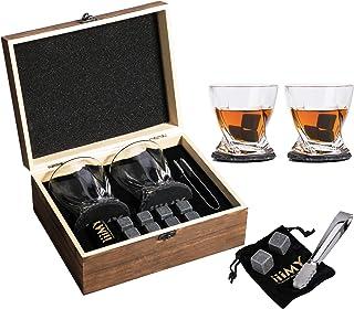 Whisky Steine und Gläser Geschenk, 8 Whisky Steine  2 Kristall Whisky Rock Gläser  2 Schiefer-Untersetzer für Whiskey und Scotch, Weihnachten/Geburtstag/Vatertag/Geschenk für Männer und Frauen
