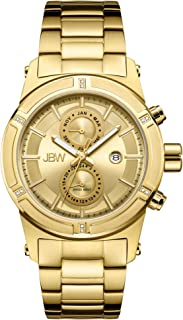 ساعة جيه بي دابليو هادسون ذهبية 12 دايموندز للرجال بسوار من الستانلس ستيل - J6263E