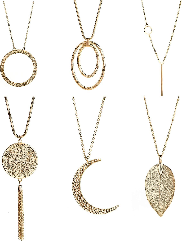 Masedy 6Pcs Long Pendant Necklace for Women Simple Bar Leaf Tassel Sweater Chain Statement Y Necklace Set