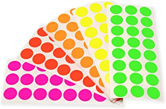 ChromaLabel 1/2 Inch Round Color-Coding Labels on Sheets   5 Assorted Colors   1,200/Variety Pack (Fluorescent)