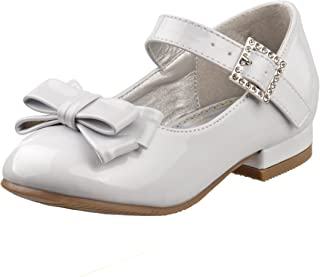 Girls Low Heel Dress Shoes with Rhinestone Buckle and Flower (Toddler, Little Kid)