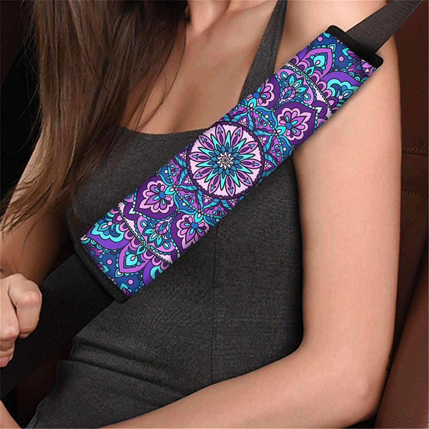 Cozeyat Purple Tops Bohemia Flowers Seat Belt Softy Cover Women Men Enthic Style Neoprene Auto Seat Belt Cover Sleeves 2 Pieces